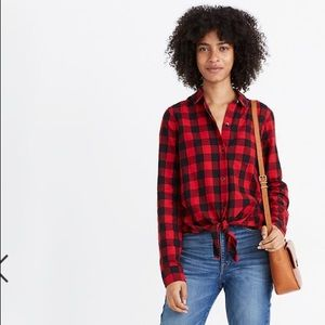 Madewell Flannel Tie Front Shirt NWT